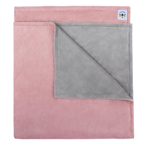 Minky Bee Newborn-Toddler Stroller Blanket Dusty Pink/Grey **IN STOCK**