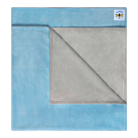 MinkyBee Stroller Blanket SKY BLUE/ GREY **Limited Edition**