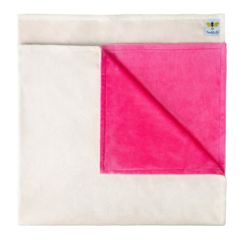 MinkyBee Stroller Blanket Hot Pink/Ivory  ** LIMITED EDITION **