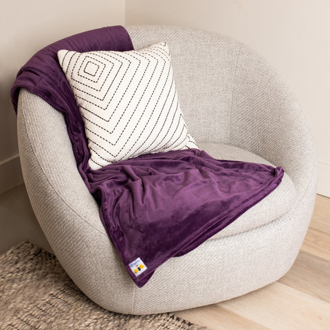 MegaBee Minky Throw Blanket PLC Jewel Purple