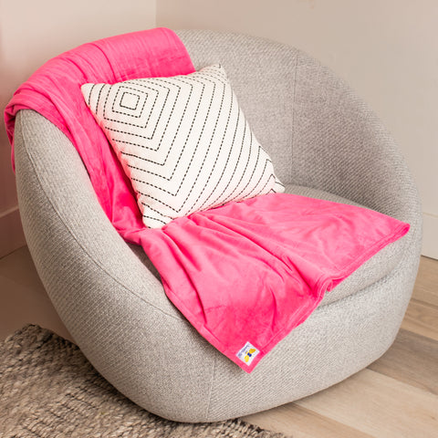 BiggerBee Minky Throw Blanket HOT PINK