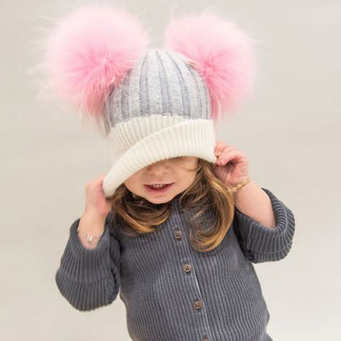Cashmere Beanies With Double Pompom