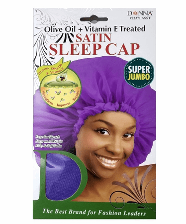 DONNA SATIN SLEEP CAP JUMBO OLIVE - Melanin Beauty Suppliers