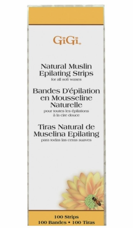 "Gigi Natural Muslin Strips Small 1.75"" x 4.5"", 100 Pack"