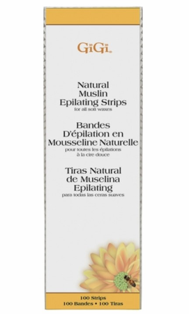 "Gigi Natural Muslin Strips Large 3""x 9"", 100 Pack"