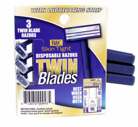 B & C Skin Tight Disposable Razors 3 Count - Melanin Beauty Suppliers