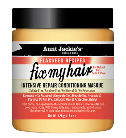 Aunt Jackie's Flaxseed Collection Fix My Hair Intensive Repair Conditioning Masque 15 oz - Melanin Beauty Suppliers