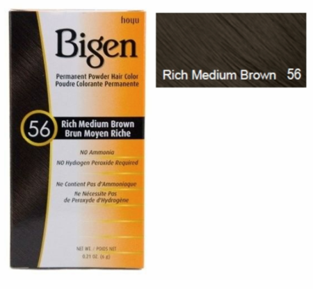 Bigen Permanent Powder Hair Color 56 Rich Medium Brown 0.21 oz - Melanin Beauty Suppliers