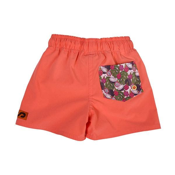 Kids SegSea swim trunks- Coral with patterned pocket