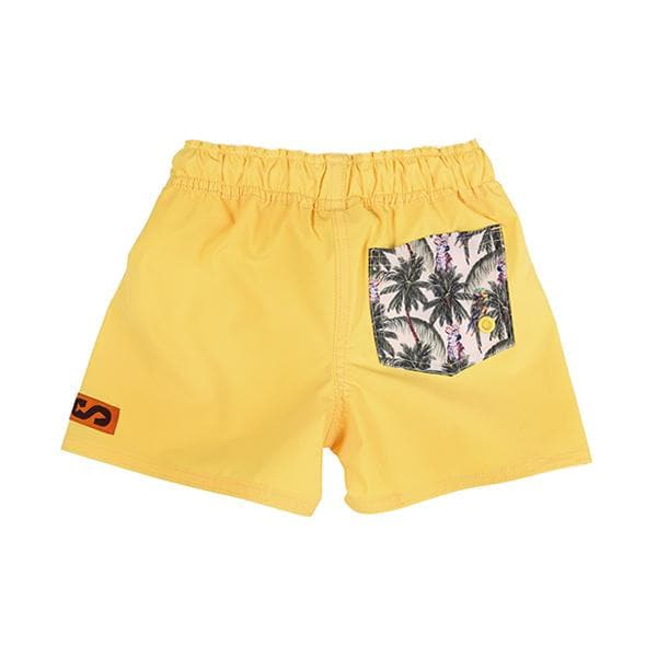 Kids SegSea swim trunks- Yellow with Patterned Pocket