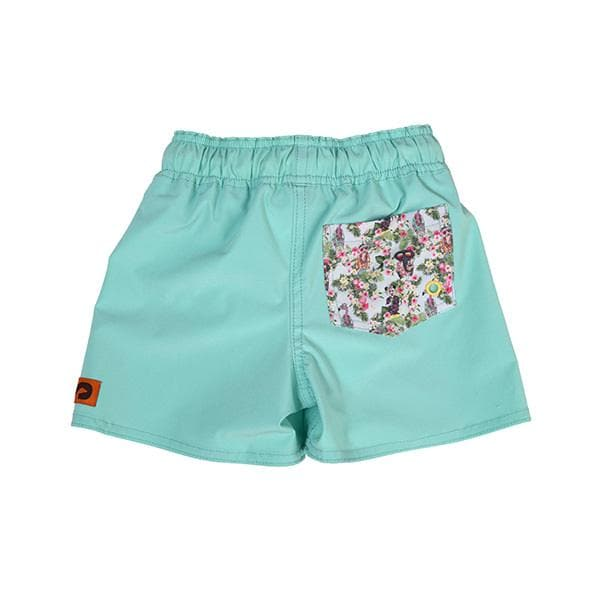 Kids SegSea swim trunks -peppermint with patterned pocket, mid-thigh length