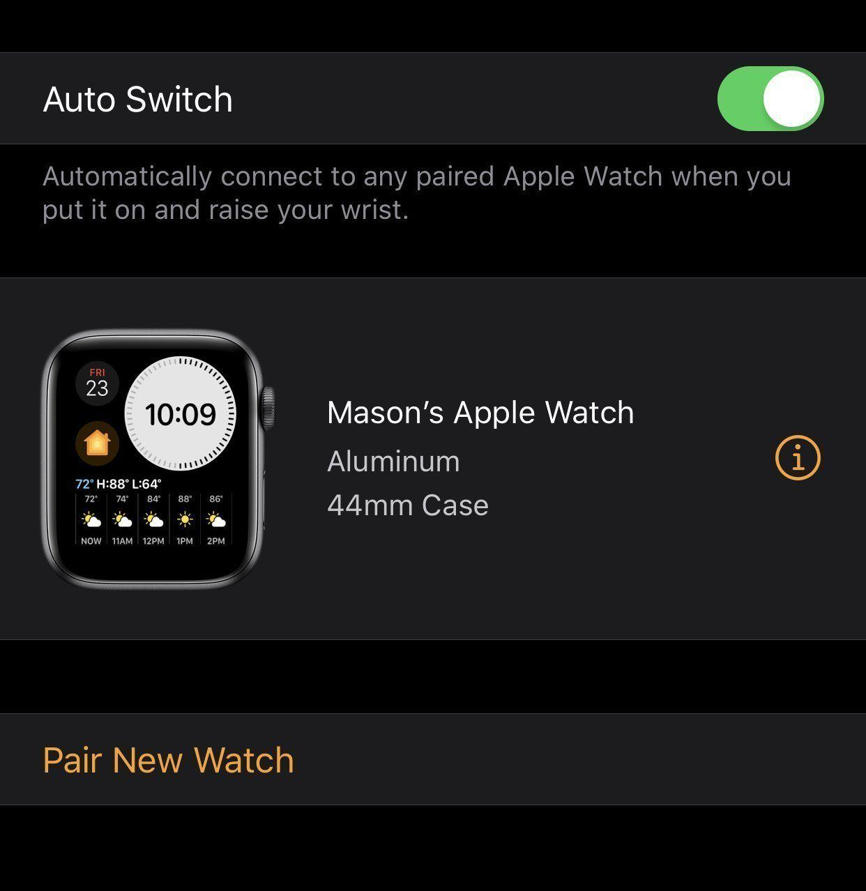 WatchOS 6 Beta 2 Let's you switch between Apple Watches