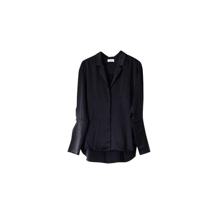 NATALIJA Silk button down shirt Black