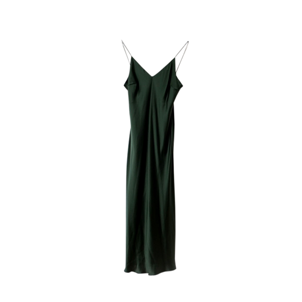NATALIJA Forest Green Silk Slip Dress Made in Australia