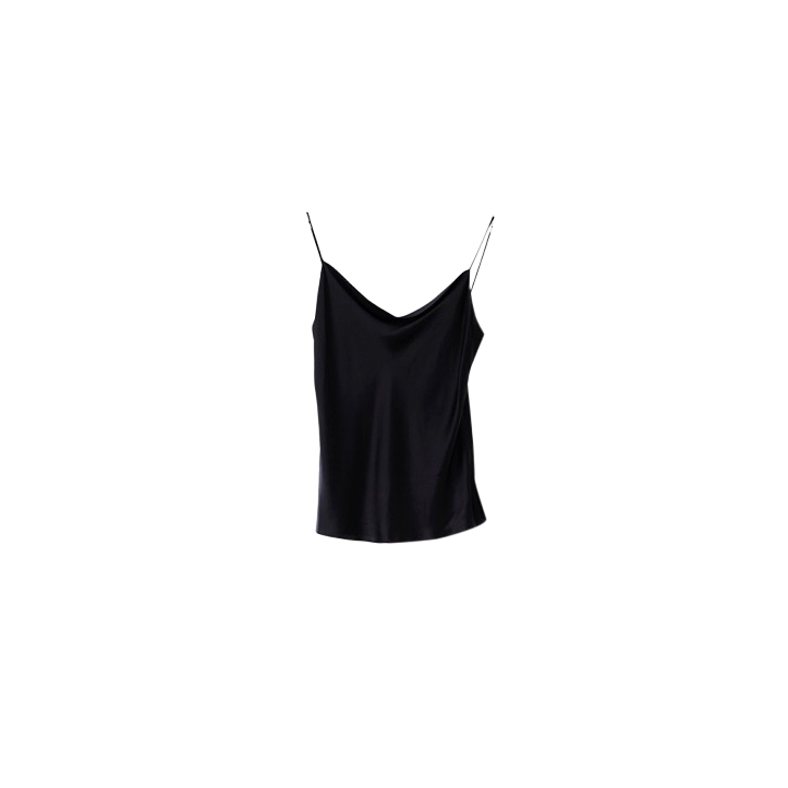 Draped Silk Cami - Black