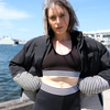 Jasmine Alexa monochrome activewear - mesh back crop top with ankle length legging and stripe puffer jacket