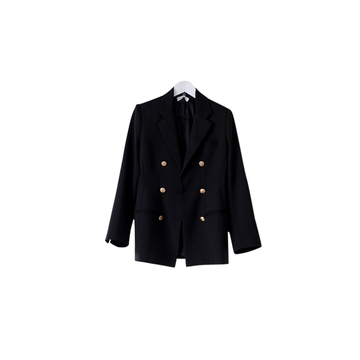 Rudi Miro Black Double Breasted Oversize Blazer with Gold buttons