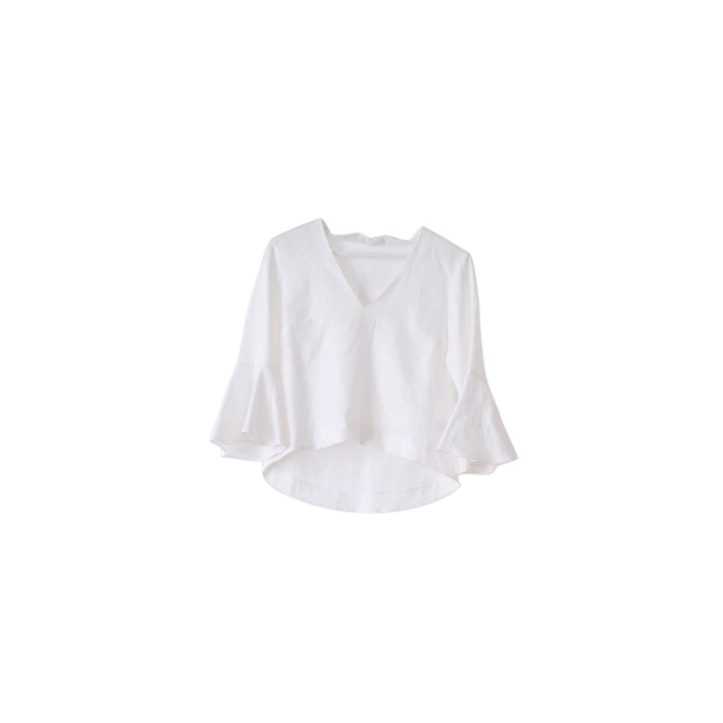 Rudi Miro White Linen Flare Sleeve Top