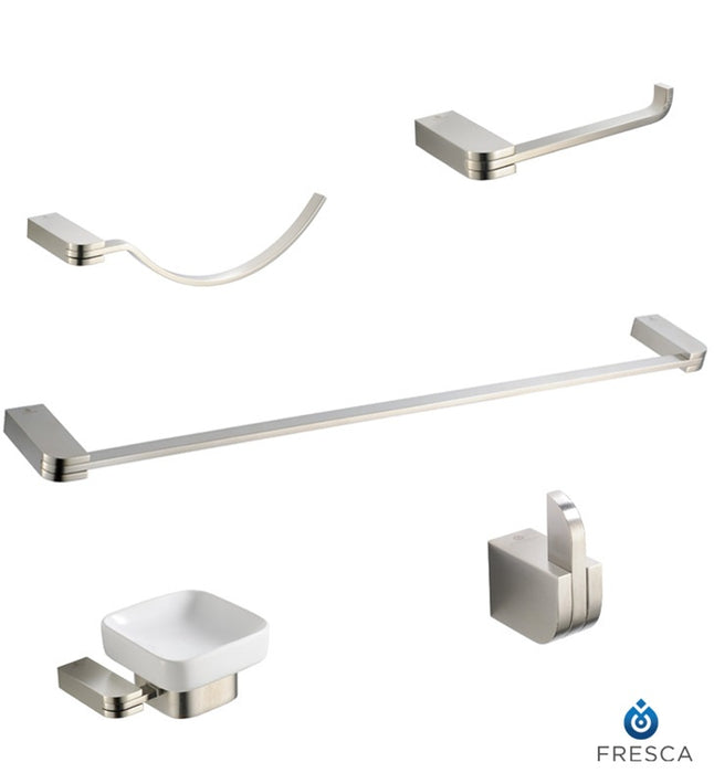 Fresca Solido 5-Piece Bathroom Accessory Set - Brushed Nickel