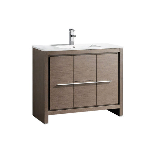 "40"" Gray Oak Modern Bathroom Cabinet with Sink"