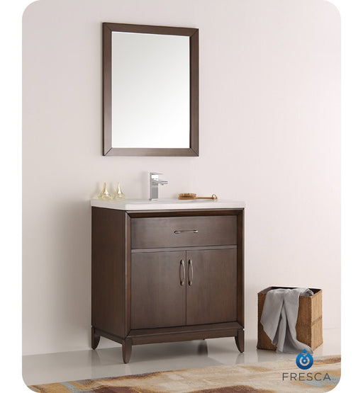 "VFresca Cambridge 30"" Antique Coffee Traditional Bathroom Vanity w/ Mirror"