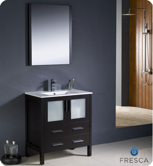"Fresca Torino 30"" Espresso Modern Bathroom Vanity w/ Integrated Sink"