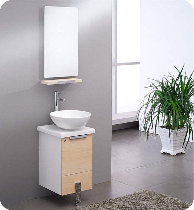 "Fresca Adour 16"" Dark Walnut Modern Bathroom Vanity w/ Mirror"