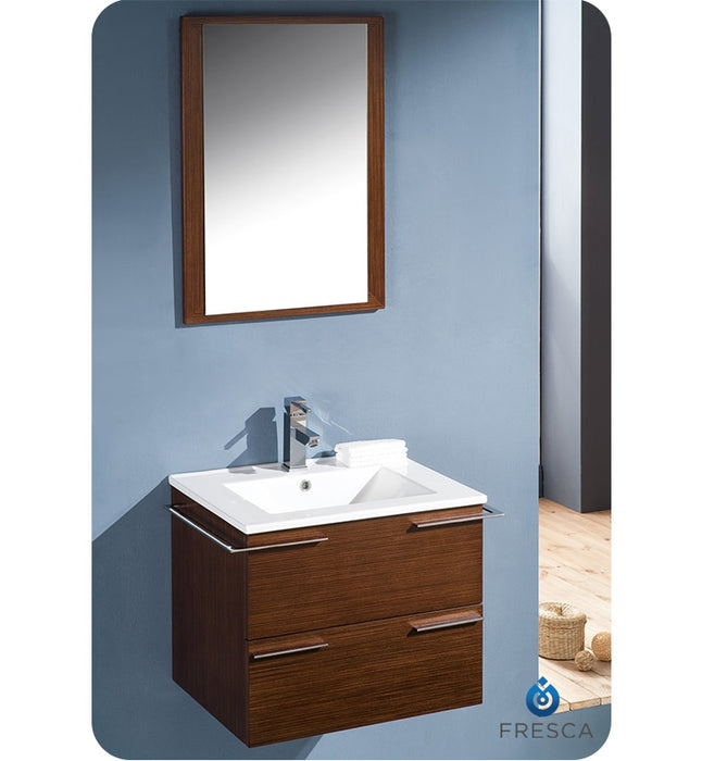 "Fresca Cielo 24"" Wenge Brown Modern Bathroom Vanity w/ Mirror"