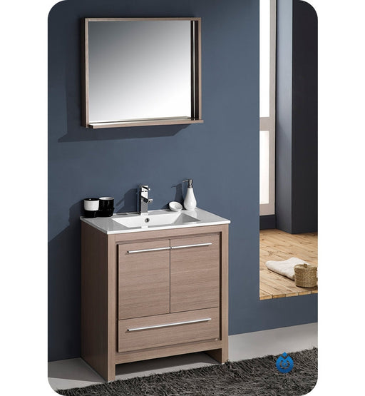 "Fresca Allier 30"" Gray Oak Modern Bathroom Vanity w/ Mirror"