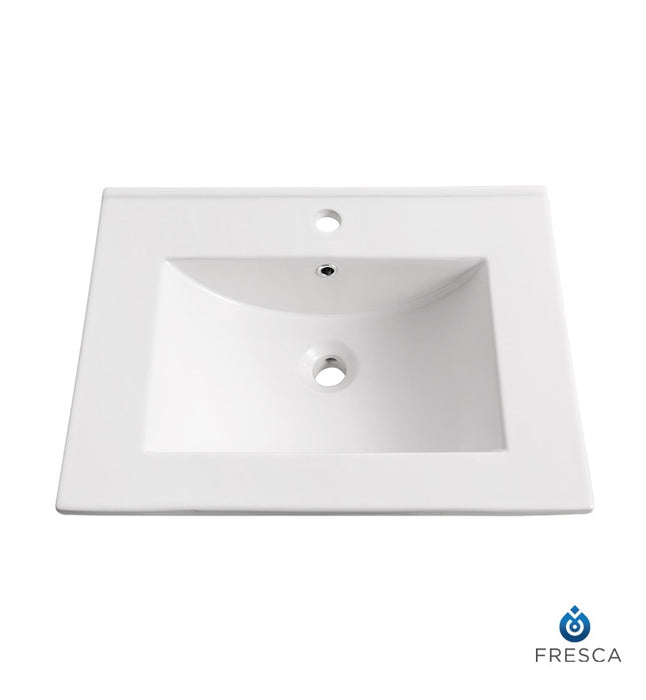 "Fresca Allier 24"" White Integrated Sink / Countertop"