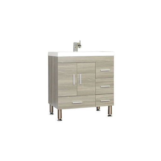 "30"" Single Modern Gray Zebrano Bathroom Vanity Set"