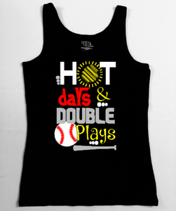 Baseball Mom Tank - Hot Days, Double Plays