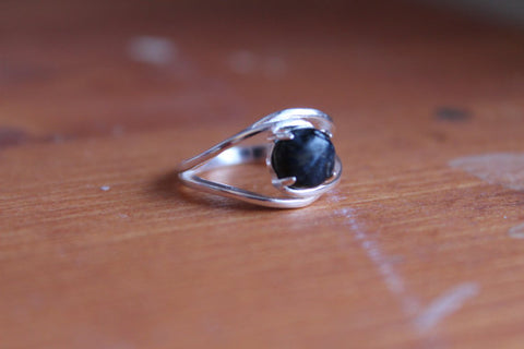 6mm pietersite and sterling silver ring