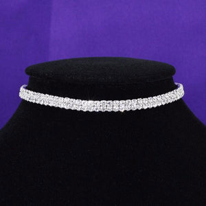 2 Row Stretch Rhinestone Choker