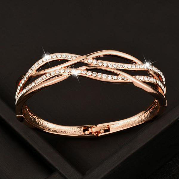 Rose Gold/White Zirconia Weave Bracelet