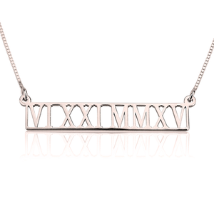 Personalized Roman Numeral Cutout Necklace
