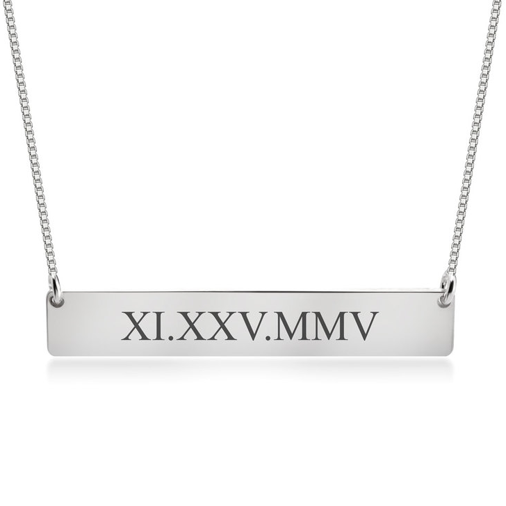 Personalized Roman Numeral Bar Necklace