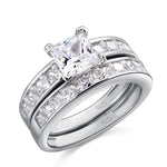 2-Pcs 1 Carat Princess Cut Ring