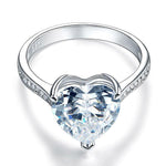 3.5 Carat Heart Cut Silver Ring
