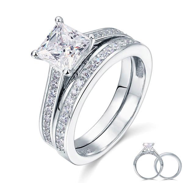 1.5 Carat Princess Cut Dual Band Ring
