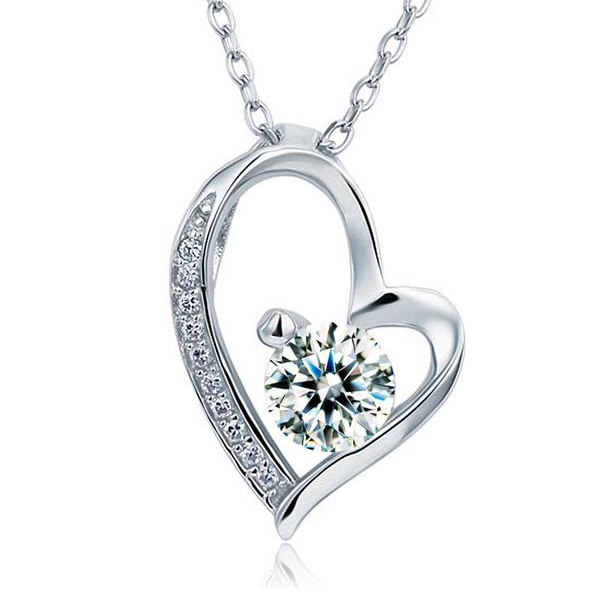 1 Carat 925 Silver Heart Pendant Necklace