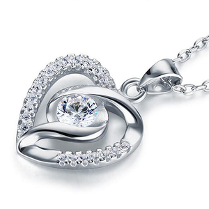 1/2 Carat 925 Silver Heart Pendant Necklace