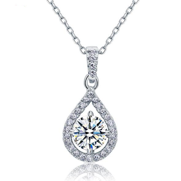 1 Carat Pear Shape Silver Necklace