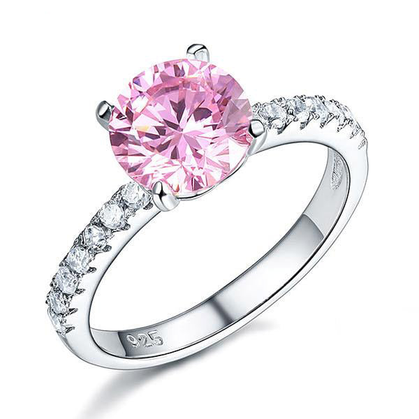 2Ct Round Cut Pink 925 Silver Ring