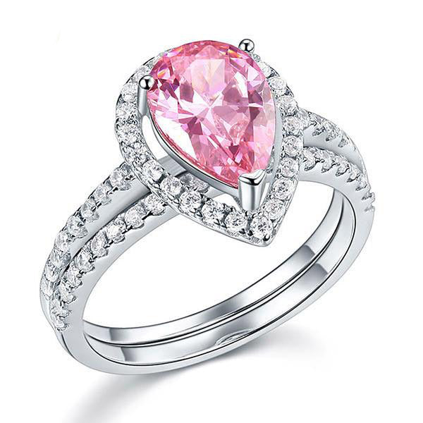 2Ct Pink Pear Cut 925 Silver Ring