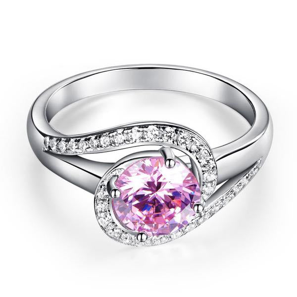 1.25 Ct Pink Round Cut 925 Silver Twist Ring