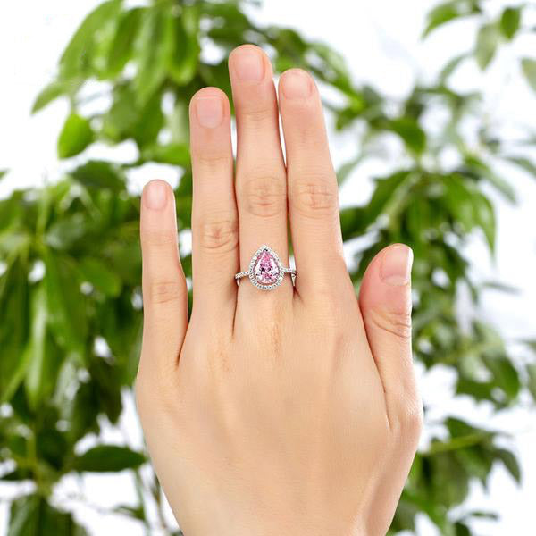 2Carat Pink Pear Cut 925 Silver Ring