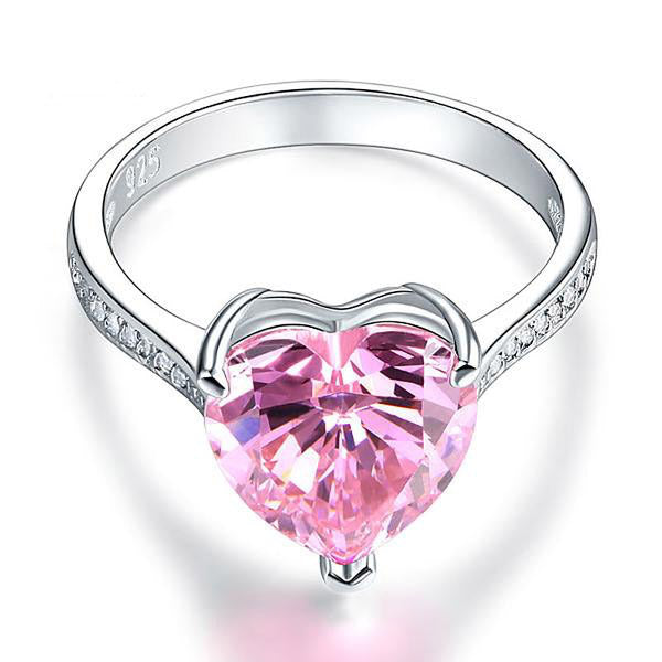 3.5 Ct Heart Cut Pink 925 Silver Ring