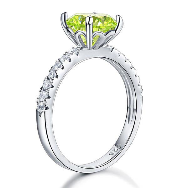 2 Carat Round Cut Green Gem 925 Silver Ring