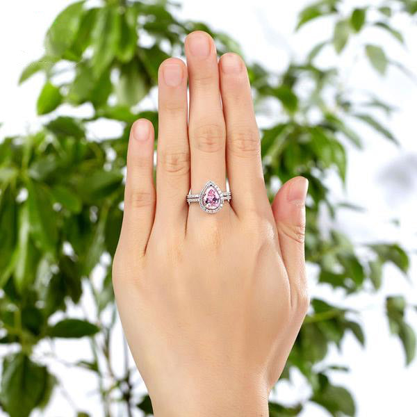 2 Carat Pink Pear Cut Halo Ring